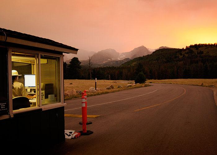 Entrada del Campground. El ranger te da la meteo, mañana tormenta.