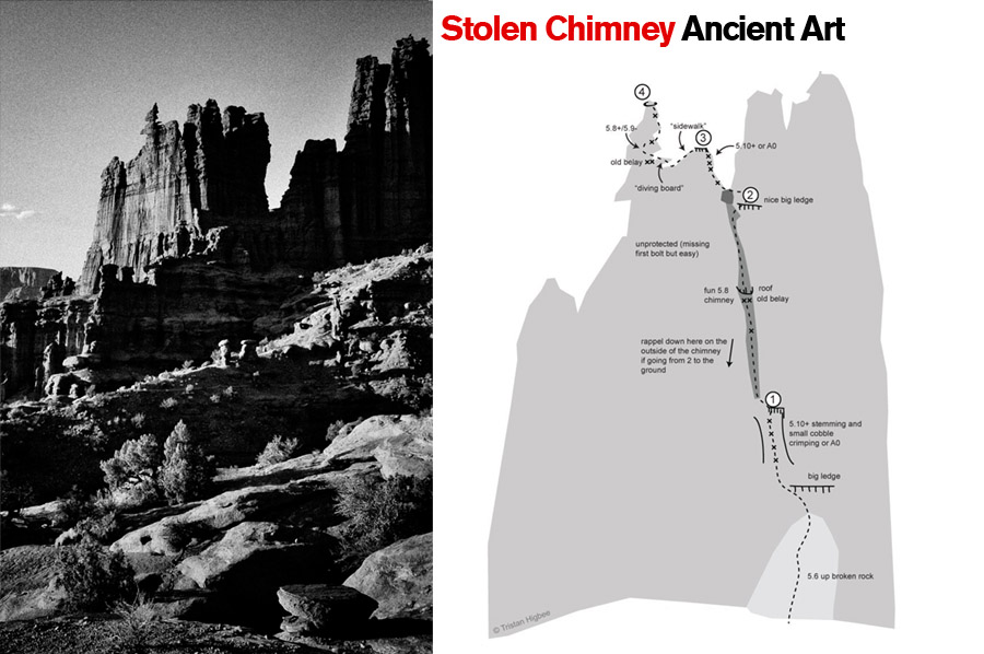 Hidden Chimney, Ancient Art. Fisher Towers