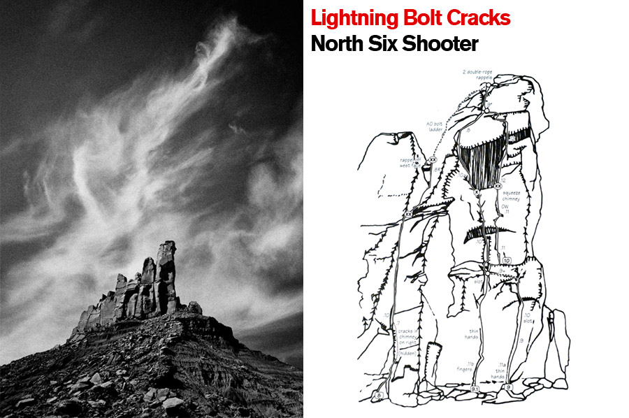 Lightning bolt cracks, North Sixshooter. Indian Creek